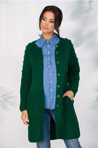 Cardigan Nelly tricotat verde inchis