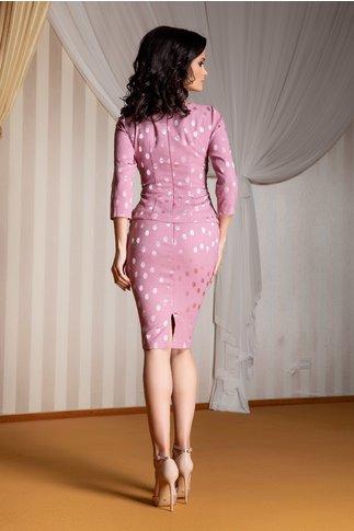 Compleu Ginette roz prafuit cu bluza si fusta cu buline satinate