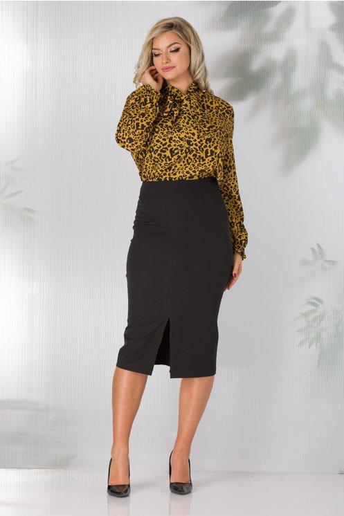 Compleu Jane office cu camasa galben mustar animal print si fusta neagra conica