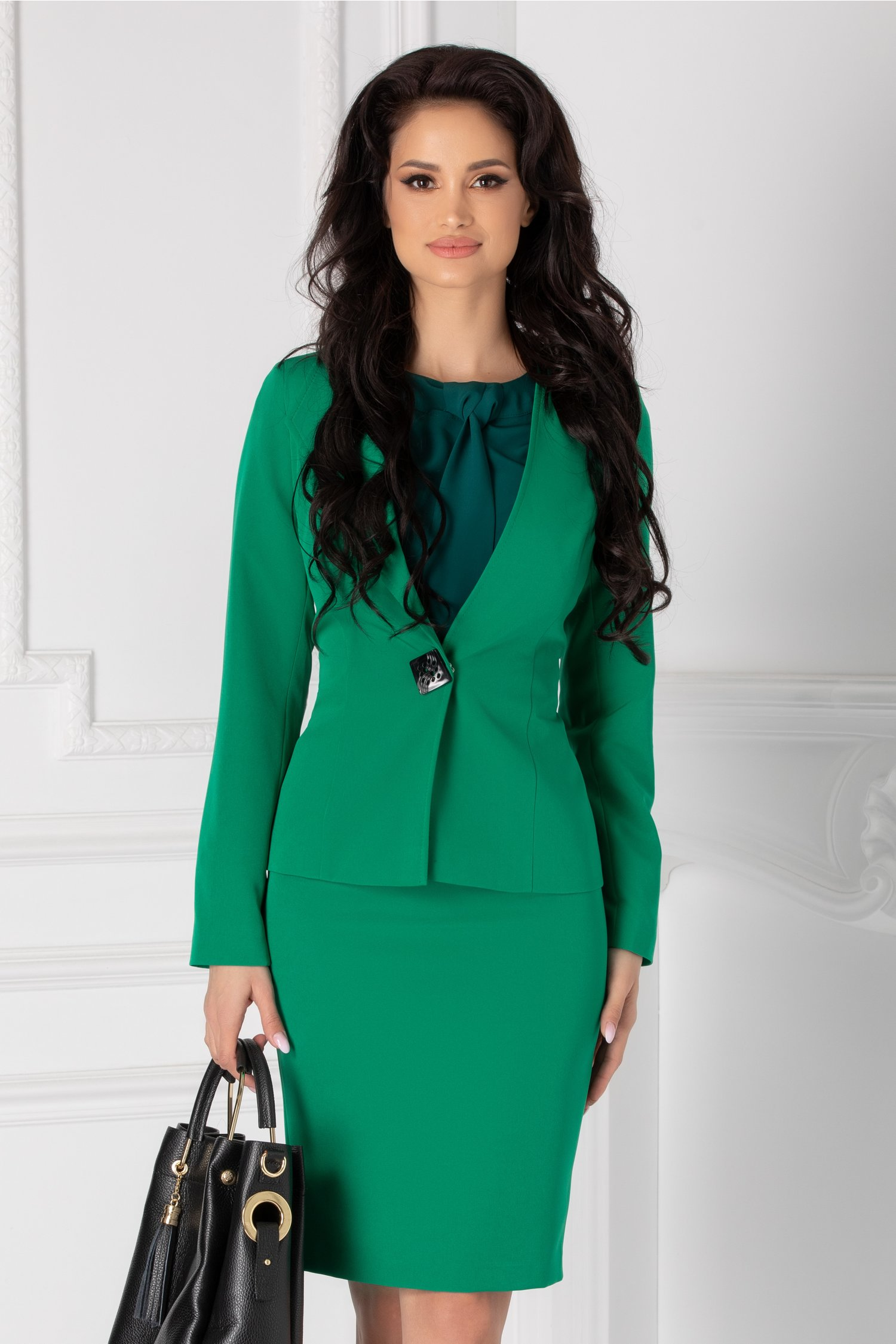 Compleu Leonard Collection verde cu sacou si fusta