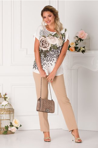Compleu Marusia cu pantaloni bej si bluza alba cu imprimeuri