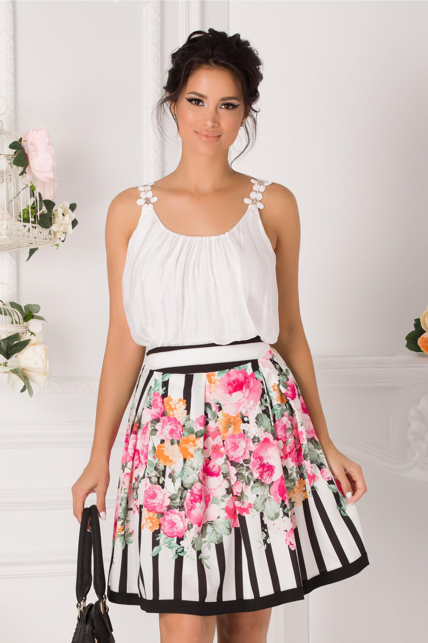 Fusta Astrid alba cu dungi negre si flori roz