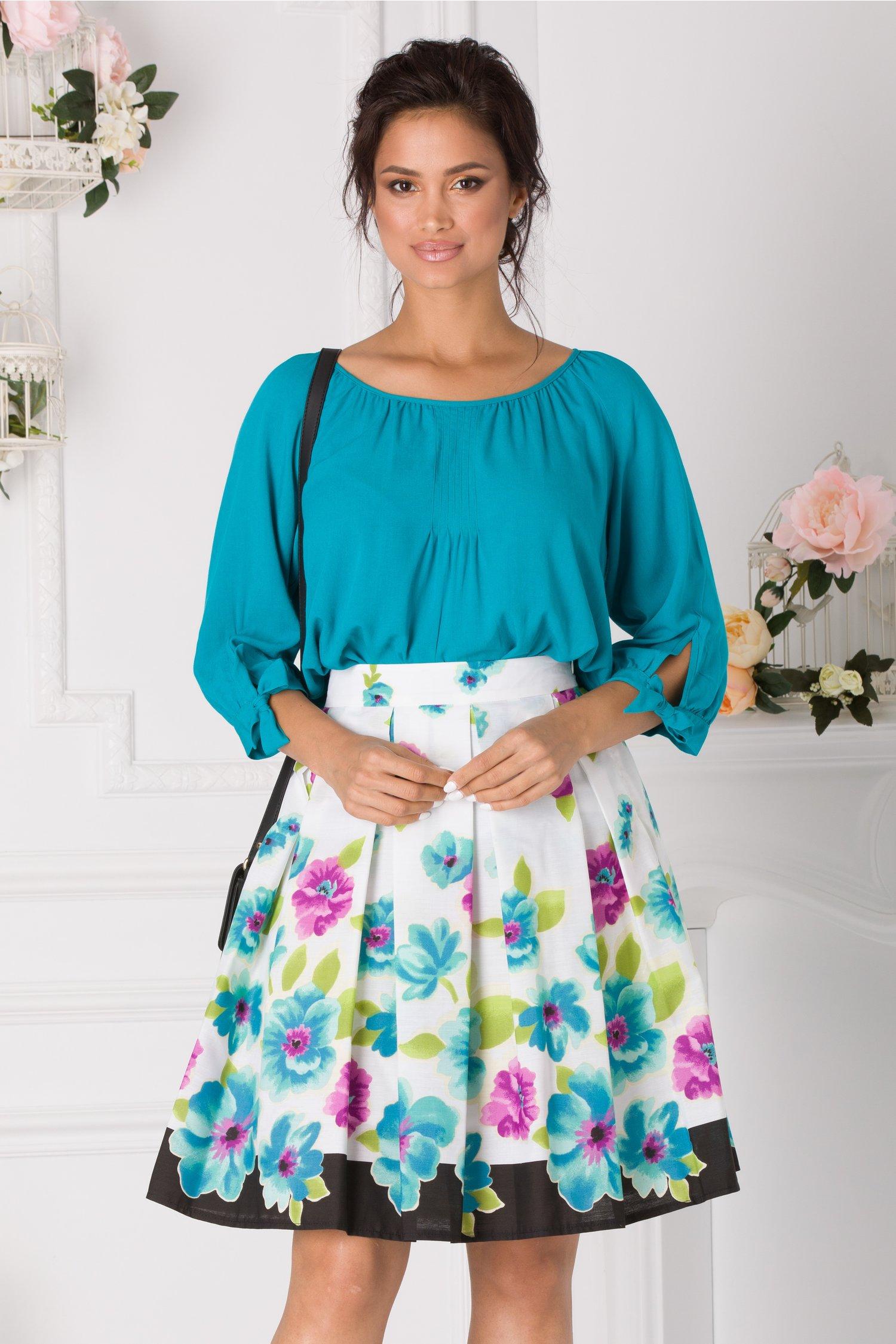 Fusta Clos Alba Cu Imprimeu Floral Turcoaz-lila