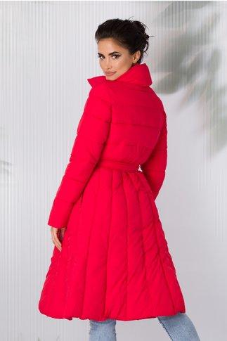 Geaca Olivia rosie lunga cu cordon in talie