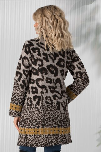Jacheta Milly gri cu imprimeu leopard