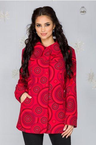 Jacheta Murcia rosie cu imprimeuri diverse si guler tip rever