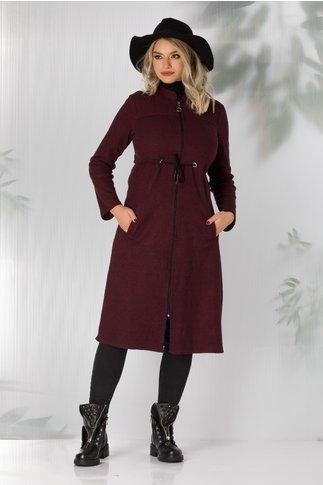 Jacheta Tamara bordo cu imprimeu in zig-zag cu snur in talie