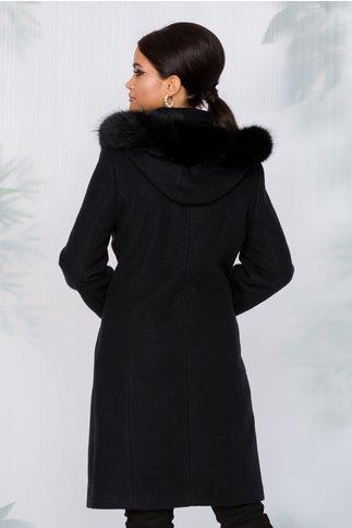 Palton Adrya negru cu gluga detasabila