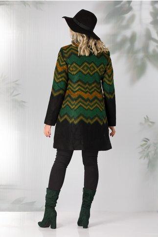 Palton Gia negru cu imprimeu geometric verde si orange
