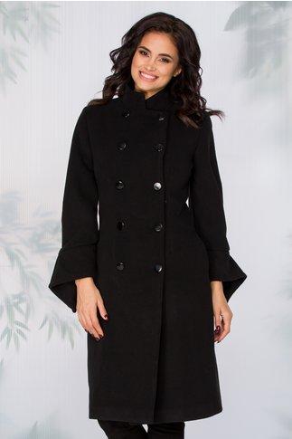 Palton Kianna negru cu doua randuri de nasturi