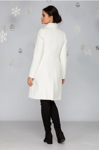 Palton LaDonna alb cu nasturi perlati