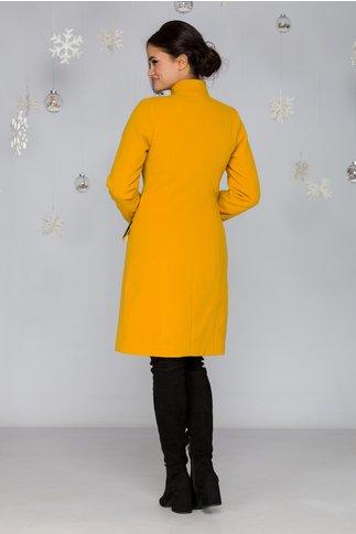 Palton LaDonna galben cu broderie neagra handmade