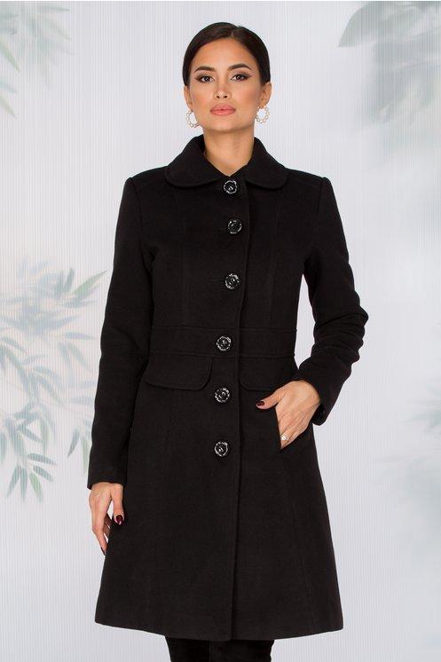 Palton LaDonna negru cambrat in talie