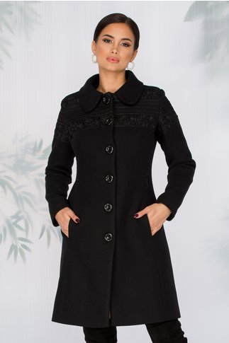Palton LaDonna negru cu broderie florala la umeri