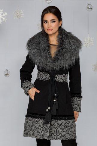 Palton LaDonna negru cu broderie la baza si maneci si guler gri detasabil