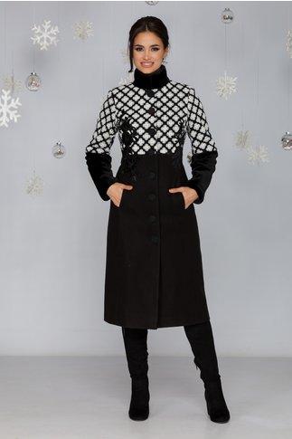 Palton LaDonna negru cu broderie la bust si blanita la maneci si la guler