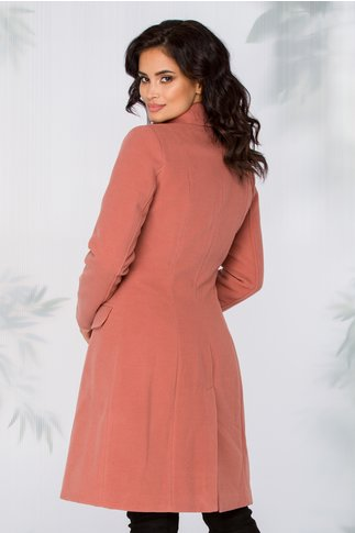 Palton LaDonna roz inchis cu nasturi perlati