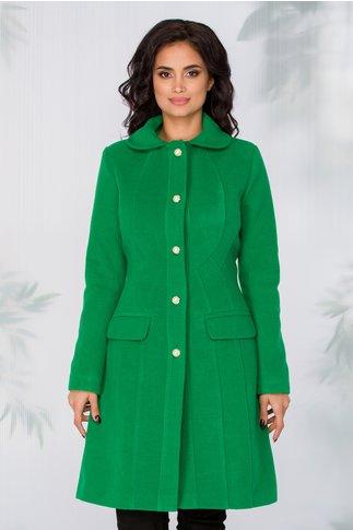 Palton LaDonna verde cu nasturi perlati