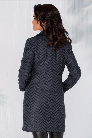 Palton Moze bleumarin cu dungi in zigzag