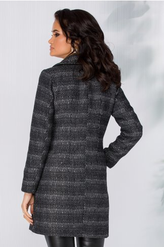 Palton Moze gri cu dungi in zigzag