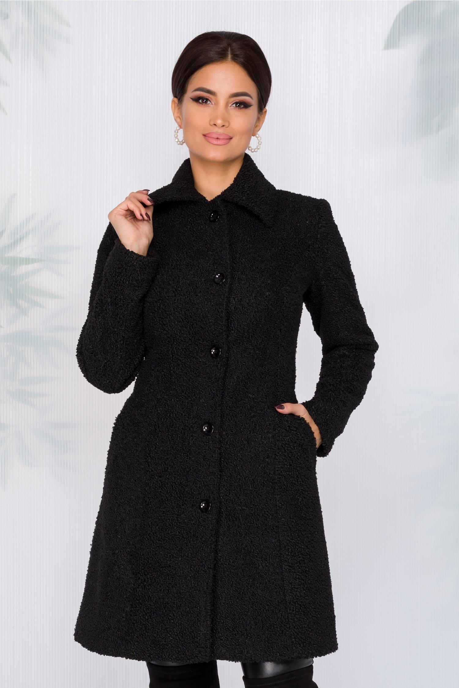 Palton Moze negru din blanita ecologica