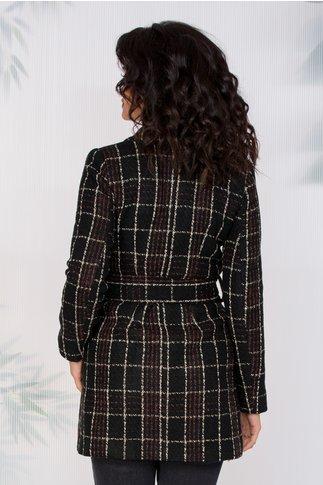 Palton Moze negru in carouri maro