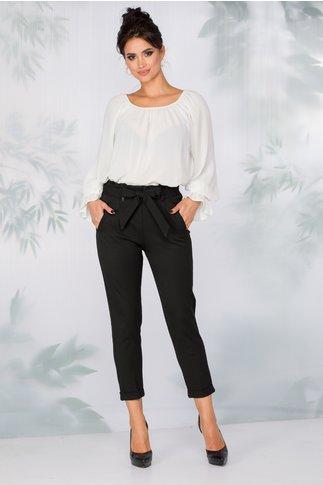 Pantaloni Iris negri cu volan in talie si cordon