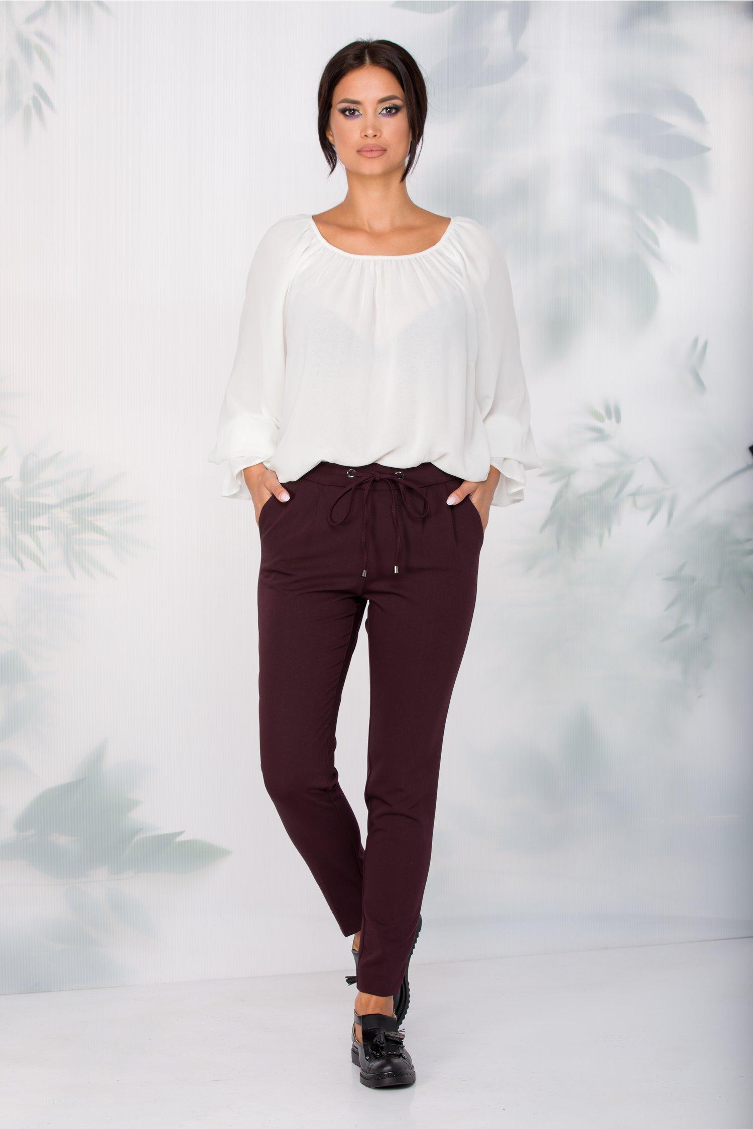 Pantaloni Iulia bordo cu snur in talie