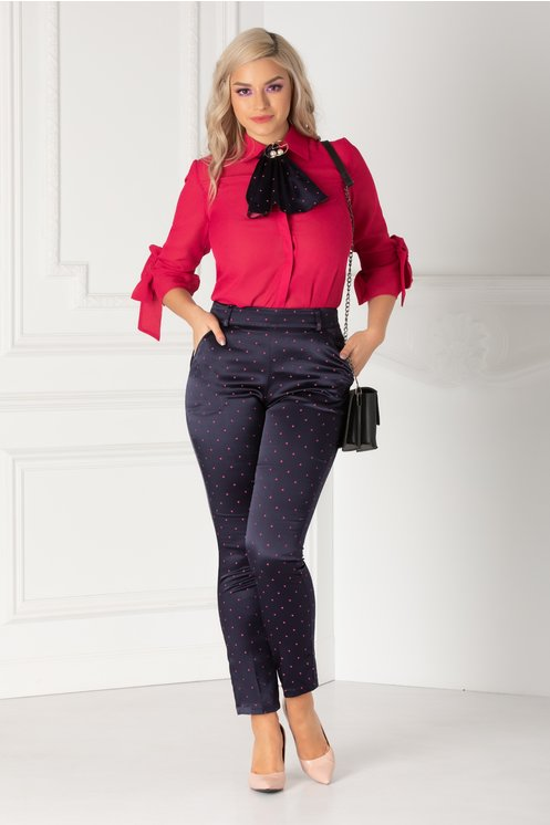 Pantaloni Kira bleumarin cu buline roz