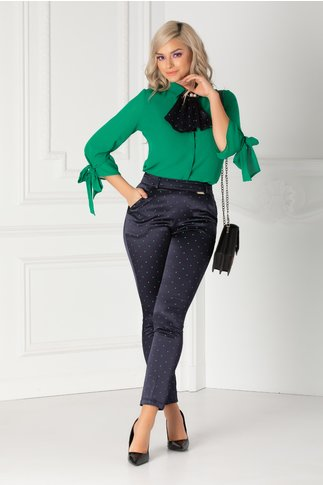 Pantaloni Kira bleumarin cu buline verzi