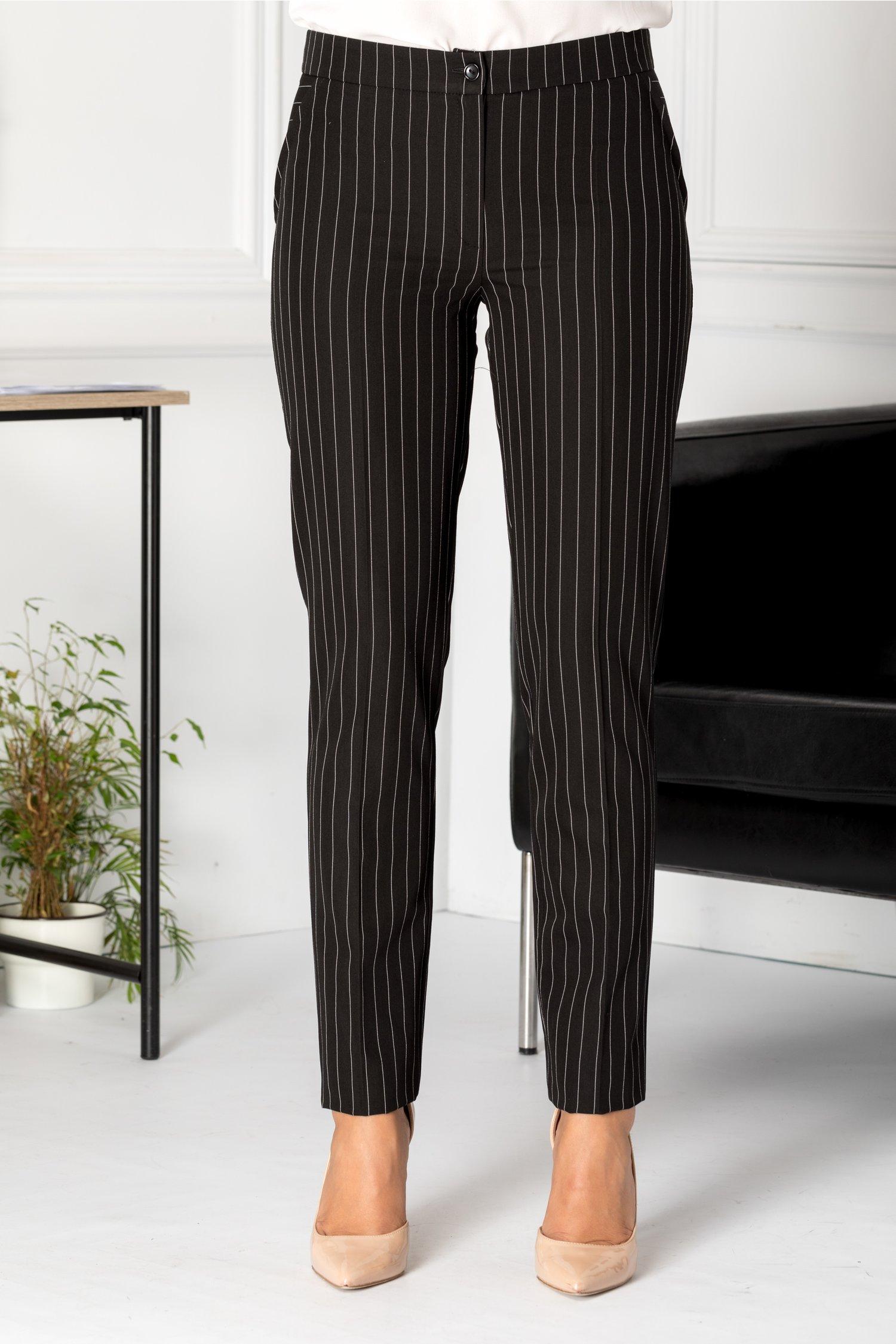 Pantaloni LaDonna conici negrii cu dungi albe
