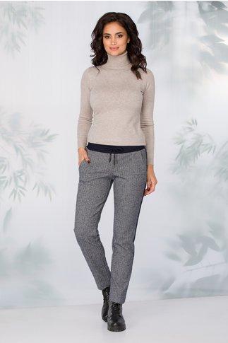 Pantaloni Lydia bleumarin model zigzag