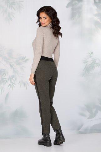 Pantaloni Lydia kaki model zigzag