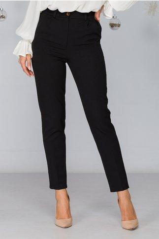 Pantaloni Moze negri conici cu pliuri eleganti