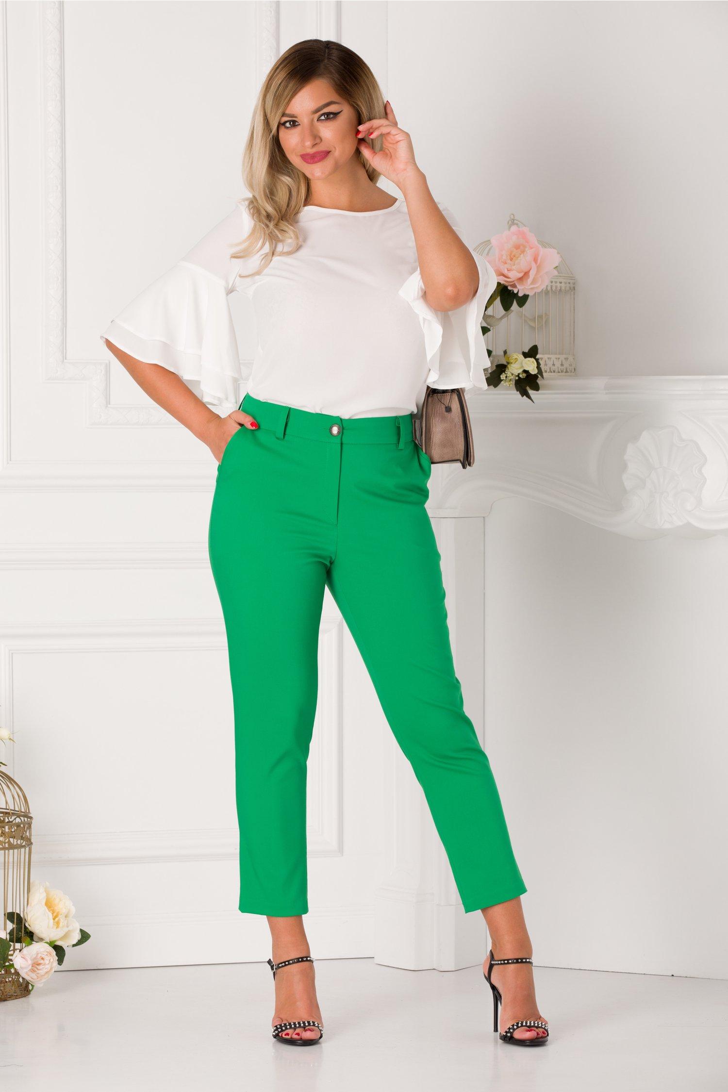 Pantaloni Moze slim verzi office