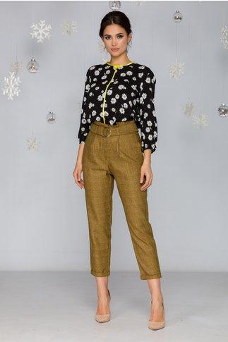 Pantaloni Varsha galbeni in carouri