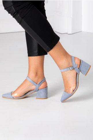 Pantofi Amty bleu cu insertie transparenta