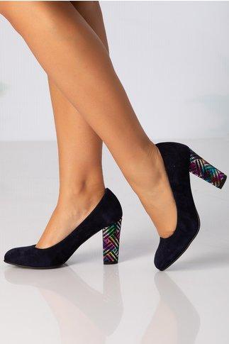 Pantofi bleumarin cu imprimeu lucios multicolor pe toc