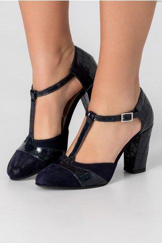 Pantofi bleumarin din piele intoarsa si piele lacuita cu aspect de piele de sarpe
