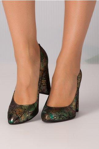 Pantofi dama negri cu imprimeuri abstracte verzi metalizate