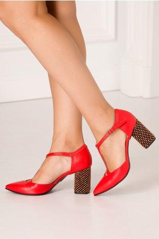Pantofi decupati corai cu insertii 3D multicolore pe toc