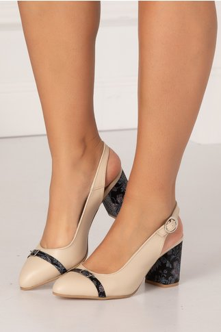 Pantofi decupati crem cu imprimeu floral stil mozaic