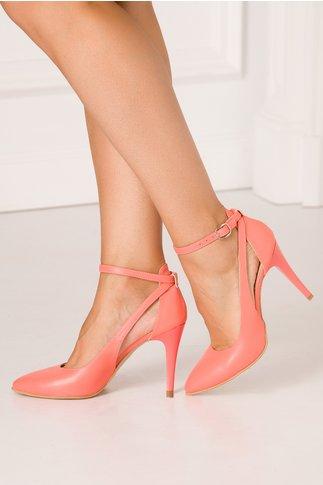 Pantofi decupati somon cu toc stiletto