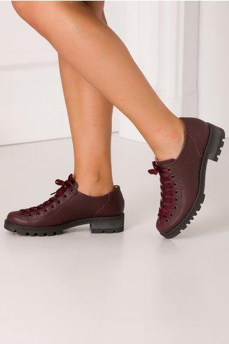Pantofi Georgy grena casual cu sireturi maxi