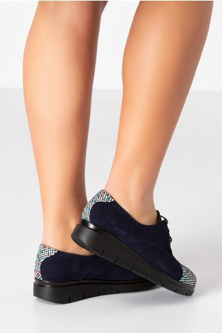 Pantofi Oxford bleumarin cu imprimeuri
