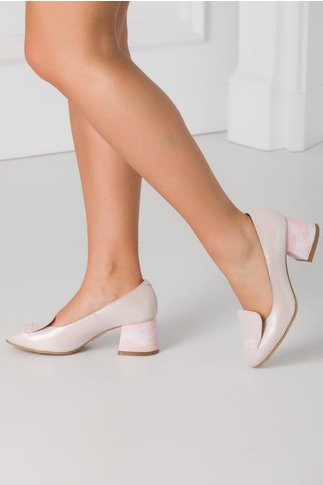 Pantofi roz pudrat sidefat cu imprimeu cu picatele colorate pe toc