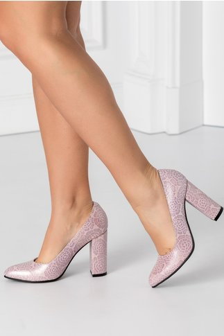 Pantofi roz sidefat cu imprimeu floral mov