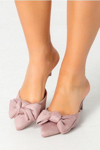 Pantofi Simi roz cu fundita decupati la spate