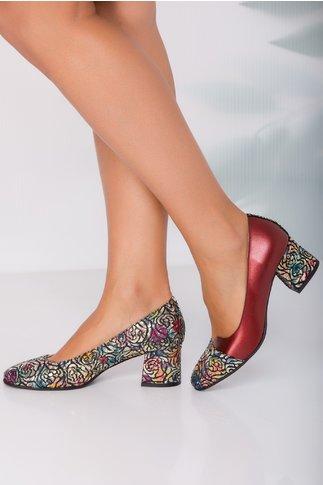 Pantofi Simina viisinii cu imprimeu floral si accente stralucitoare