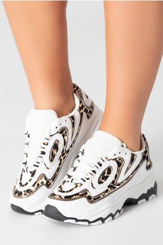Pantofi sport albi cu detalii animal print
